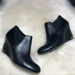 Bandolino Black Leather Wedge Ankle Booties